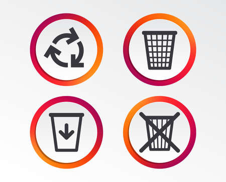 Recycle bin icons, Reuse or reduce symbols,  Trash can and recycling signs. Archivio Fotografico - 97216069