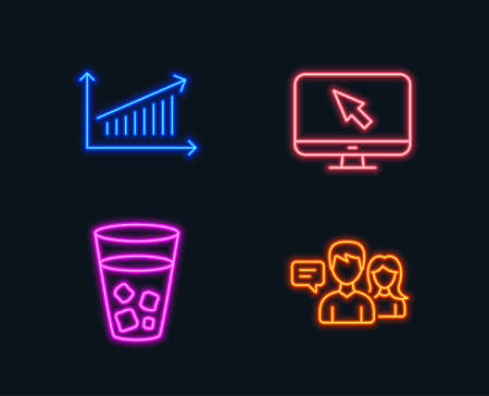 Neon lights for  Set of Internet, Ice tea , Chart icons and  People talking sign.
