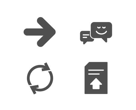 Set of Happy emotion, Next, Full rotation icons and  Upload file sign.