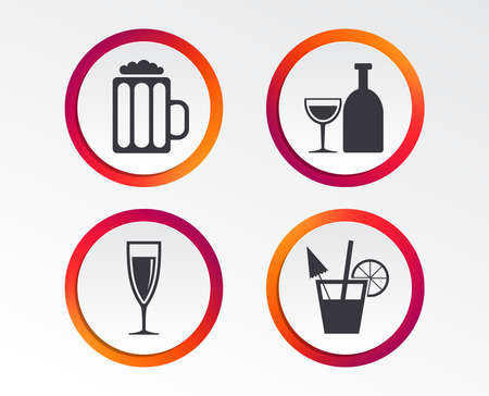 Alcoholic drinks icons:  Champagne, sparkling wine and beer symbols.
