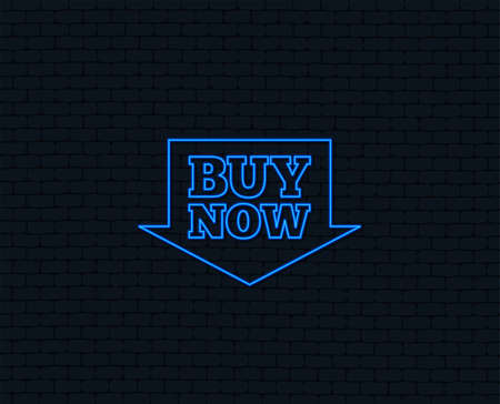 Neon light of  Buy now sign icon. Illustration