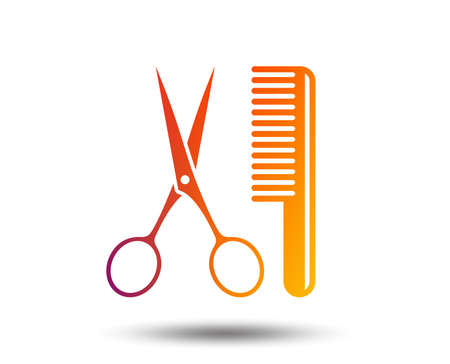 Comb hair with scissors sign icon. Barber symbol. Ilustracja