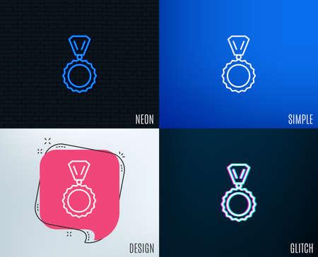 Glitch, Neon effect of Award Medal line icon. Winner achievement symbol.