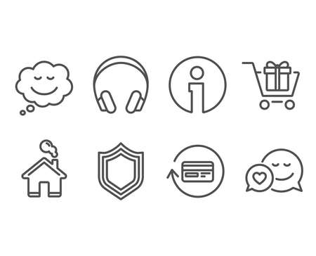 Set of Refund commission, Shopping cart and Speech bubble icons. Security, Headphones and Dating signs.