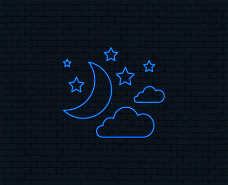 Neon light for  Moon, clouds and stars icon. Sleep dreams symbol.