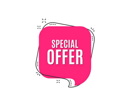 Special offer symbol. Sale sign. Advertising Discounts symbol. Speech bubble tag. Trendy graphic design element. Vector Vectores