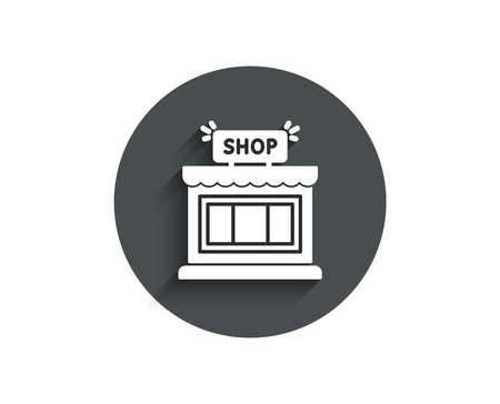 Shop simple icon Store symbol. Shopping building sign. Circle flat button with shadow. Vector Ilustracja