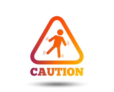 Caution wet floor sign icon. Human falling triangle symbol.