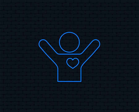 Neon light for  Fans love icon. Man raised hands up sign.