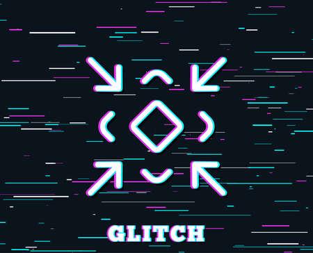 Glitch effect for  Minimize arrow line icon. Small screen symbol. Illustration
