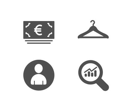 Set of Euro currency, Avatar and Cloakroom icons. Data analysis sign. Eur banking, User profile, Hanger wardrobe.