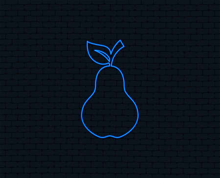 Neon light with  Pear with leaf sign icon. Fruit symbol.