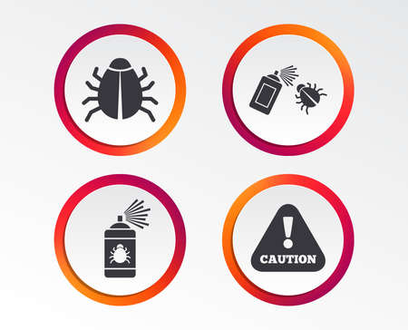 Bug disinfection icons. Caution attention symbol. Insect fumigation spray sign. Stock Illustratie