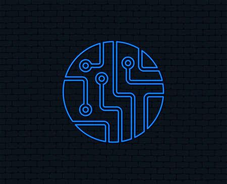 Neon light for Circuit board sign icon. Technology scheme circle symbol. Vektorové ilustrace