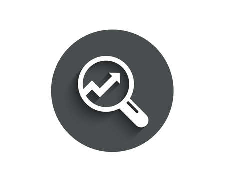 Chart simple icon. Report graph or Sales growth sign in Magnifying glass.