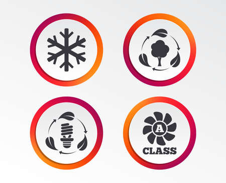 Fresh air icon:  Forest tree with leaves sign,  Fluorescent energy lamp bulb symbol, A-class ventilation and  Air conditioning symbol.