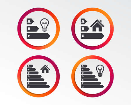 Energy efficiency icons. Lamp bulb and house building sign symbols.