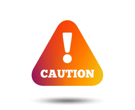 Attention caution sign icon. Exclamation mark. Hazard warning symbol. Blurred gradient design element. Фото со стока - 97277815