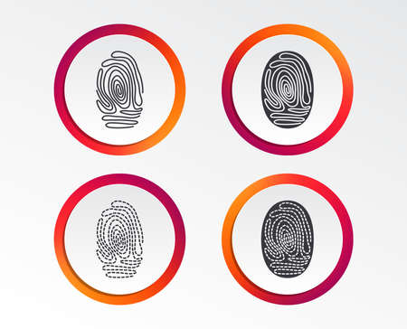 Fingerprint icons. Identification or authentication symbols. Biometric human dabs signs. Infographic design buttons. Circle templates. Vector