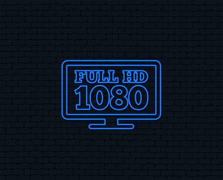 Luz de neón. Icono de señal de televisión de pantalla ancha HD completo. Símbolo de 1080p Brillante diseño gráfico. Ilustración de vector