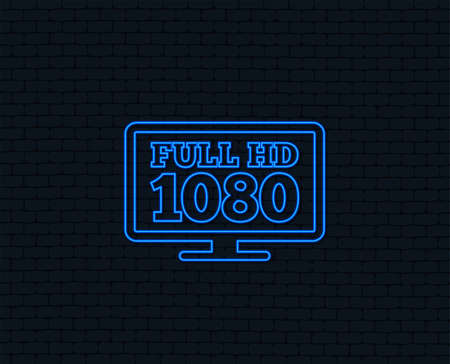 Neon light. Full hd widescreen tv sign icon. 1080p symbol. Glowing graphic design. Reklamní fotografie - 97277817