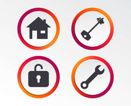 Home key icon. Wrench service tool symbol. Locker sign. Main page web navigation.