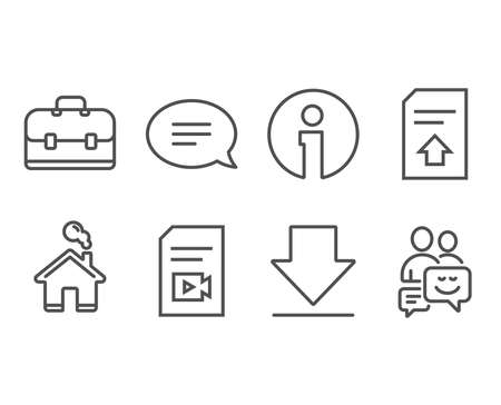 Set of Upload file, Chat and Video file icons. Portfolio, Downloading and Communication signs.