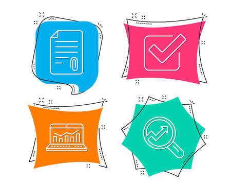 Set of Attachment, Checkbox and Web analytics icons. Analytics sign.
