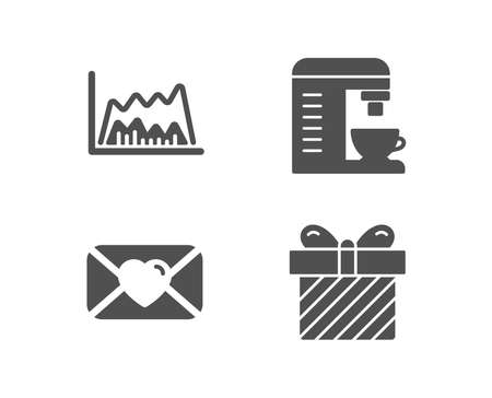 Set of Valentine, Coffee machine and Trade chart icons. Surprise sign.