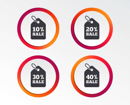 Sale price tag icons. Discount special offer symbols. 10%, 20%, 30% and 40% percent sale signs. 向量圖像