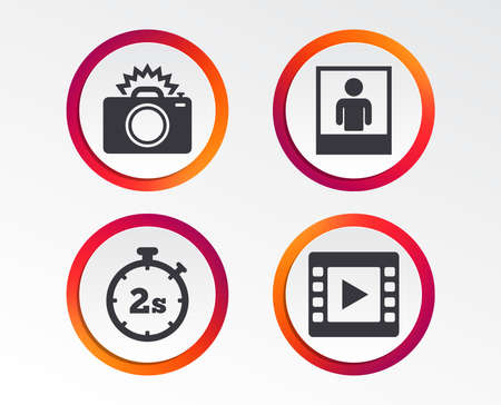 Photo camera icon. Flash light and video frame symbols. Stopwatch timer 2 seconds sign. Ilustrace