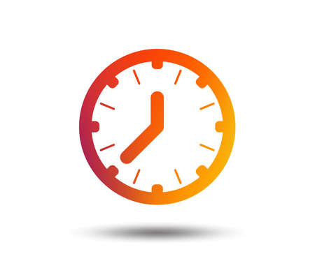 Clock time sign icon. Mechanical watch symbol. Blurred gradient design element. Vivid graphic flat icon. Vettoriali