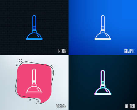 Glitch, Neon effect. Cleaning plunger line icon. Ð¡leaning of pipe clogs symbol.