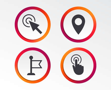 Mouse cursor icon. Hand or Flag pointer symbols. Map location marker sign. Infographic design buttons.