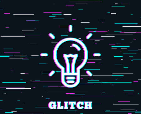 Glitch effect. Idea line icon. Light bulb sign. Copywriting symbol. Background with colored lines.