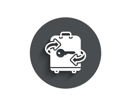 Luggage room simple icon. Baggage Locker sign. Travel service symbol. Circle flat button with shadow. Stock Illustratie