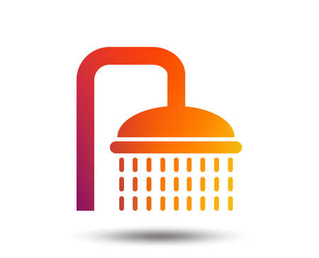 Shower sign icon. Douche with water drops symbol. Blurred gradient design element. Vivid graphic flat icon.