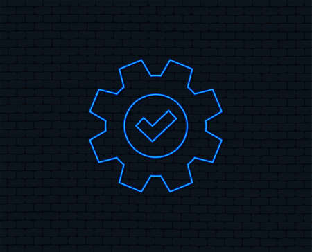 Neon light. Service icon. Cogwheel with tick sign. Check symbol. Glowing graphic design.