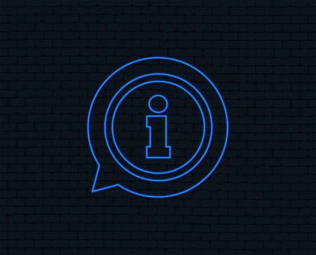 Neon light. Information sign icon. Info speech bubble symbol. Glowing graphic design. Brick wall. Illustration