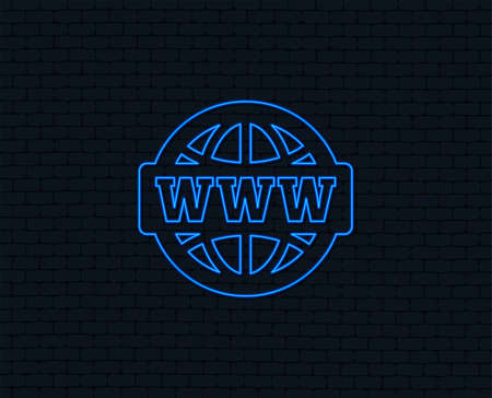 Neon light. WWW sign icon. World wide web symbol. Globe. Glowing graphic design.