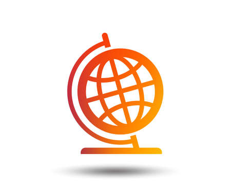 Globe sign icon. Geography symbol. Globe on stand for studying. Blurred gradient design element. Illustration
