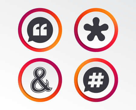 Quote, asterisk footnote icons. Hashtag social media and ampersand symbols. Stock Illustratie