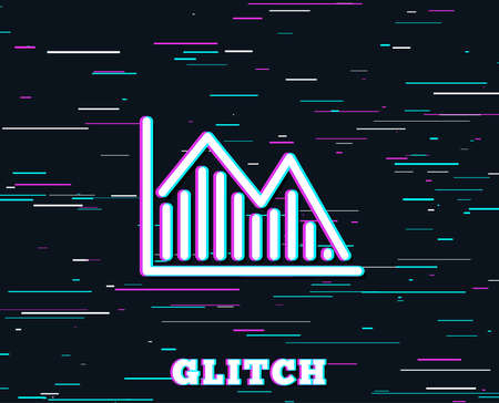 Glitch effect. Financial chart line icon. Economic graph sign. Stock exchange symbol. Business investment.