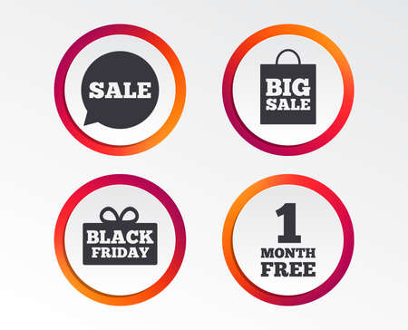 Sale speech bubble icon. Black friday gift box symbol. Big sale shopping bag. Stock Illustratie
