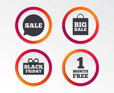 Sale speech bubble icon. Black friday gift box symbol. Big sale shopping bag. Illustration