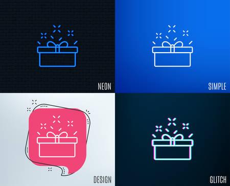 Glitch, Neon effect. Gift box line icon. Present or Sale sign. Birthday Shopping symbol.