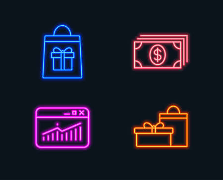 Neon lights. Set of Holidays shopping, Website statistics and Banking icons. Gifts sign.