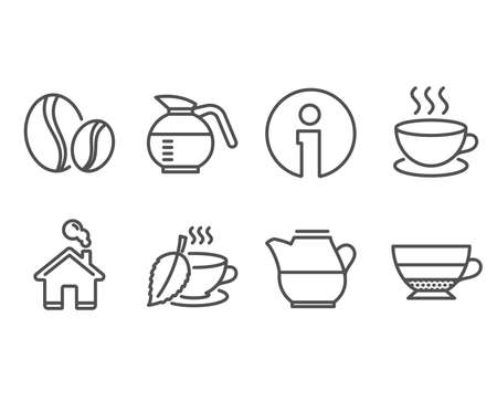 Set of Coffee beans, Cappuccino and Milk jug icons. Mint tea, Coffeepot and Americano signs. Иллюстрация