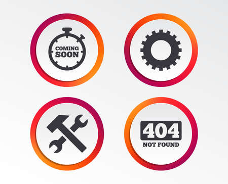 Coming soon icon. Repair service tool and gear symbols. Hammer with wrench signs. 404 Not found.