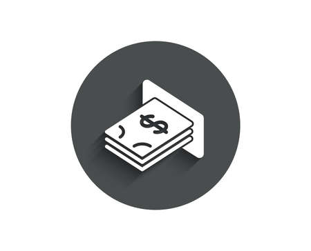 Cash money simple icon. Banking currency sign. Dollar or USD symbol. Circle flat button with shadow.